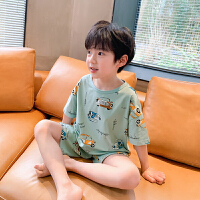 【2件2折】左西男童短袖家居服套装夏装2021新款儿童睡衣中大童卡通冰瓷棉夏季潮