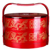 婚庆用品 结婚嫁妆新娘陪嫁双层手提盒子饺子盘糕点食盒果盘 双层手提食盒1个