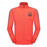 巴萨足球服17-18秋冬新款巴塞罗那N98夹克外套训练服儿童套装球衣 粉橙外套 M