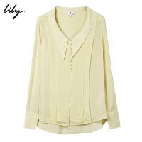 【100%桑蚕丝】Lily秋新款女装气质真丝纯色宽松雪纺衫衬衫8697