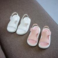 宝贝2儿童男童女童纯皮凉鞋男宝1-3岁夏季韩版软底宝宝夏天鞋子潮