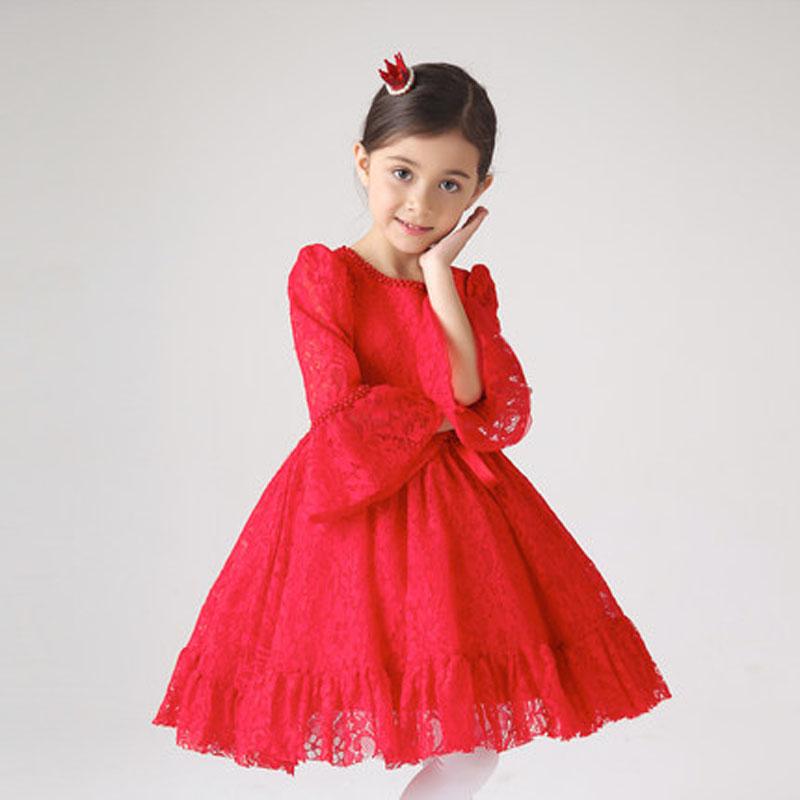 连衣裙婚纱蓬蓬裙 长袖儿童礼服女童红色蕾丝公主裙花童 红色