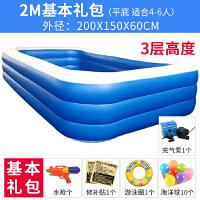 宝宝小孩充气家用超大号球池水上乐园 加厚游泳池 防刀割2.00米三层蓝白基本套餐 电泵充气