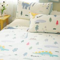 卡通可爱手绘恐龙纯棉全棉床上用品三件套三件套床上用品床单被套 卡通手绘绿色恐龙套件