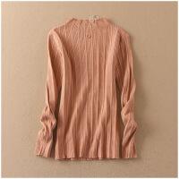 特价 春季纯色圆领套头长袖修身高弹针织衫 10684