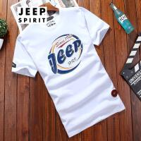 吉普JEEP短袖T恤男士圆领印花短t夏款男士舒适棉短袖打底衫男短T