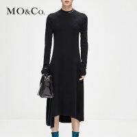 【到手价:839,商城同款春新品直降,2.28 零点开启】MOCO冬季新品纯色小高领字母针织连衣裙MA184DRS31