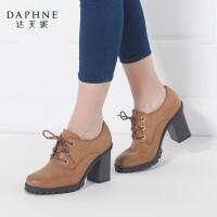 Daphne/达芙妮秋款粗跟女鞋学院风OL系带圆头单鞋子