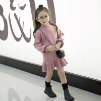 韩版童装女宝宝公主裙子 2017新款儿童秋冬装毛衣裙 女童连衣裙春装 粉 红色