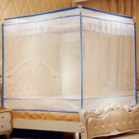 三开门蚊帐拉链铁艺烤漆支架方顶坐床式宫廷蚊帐1.5m1.8米