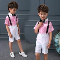 儿童合唱服演出服男童朗诵背带裤男孩钢琴表演服装小主持人礼服夏