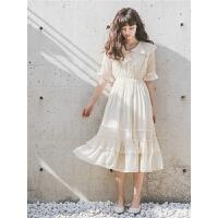 娃娃领雪纺连衣裙春夏装女2019新款法式复古设计感心机气质长裙子