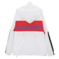 2018夏季韩版新款连帽防晒衣女学生短款上衣原宿风宽松薄款外套 白色 均码