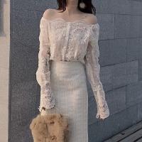 春秋装新款钩花蕾丝衫透视露肩长袖单排扣衬衫打底两件套上衣女装