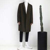 秋冬季男士风衣羊毛呢大衣韩版宽松中长款呢子外套黑色羊绒风衣