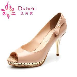 Daphne/达芙妮春款细高跟防水台蝴蝶结闪亮鱼嘴单鞋女1015102018