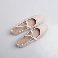 单鞋女平底圆头平跟芭蕾舞绑带鞋浅口仙女鞋子护士瓢鞋复古奶奶鞋 白色 皮面