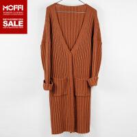 秋季款欧美风中长款棕色针织衫女士毛衣外套开衫 棕色