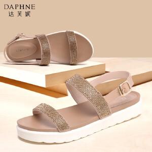Daphne/达芙妮女鞋夏季时尚水钻亮面平底夏女鞋