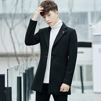 冬季帅气中长款风衣男外套呢子大衣韩版修身呢大衣男潮流