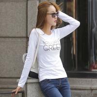 2018春秋新款女装上衣T恤白色打底衫韩版修身字母棉质体恤女长袖 123白色. S