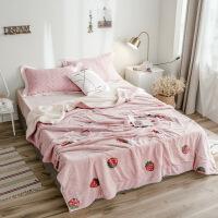 北欧简约小菊花柔软加厚羊羔绒双层毛毯 秋冬休闲沙发毯子盖毯