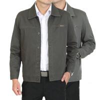 秋冬季中老年男装翻领长袖纯色薄款夹克衫爸爸装中年男士休闲外套