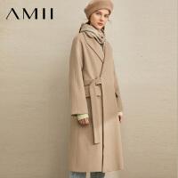 Amii极简时尚复古羊毛呢外套女2019冬季新宽松拼腰带暗扣长款大衣