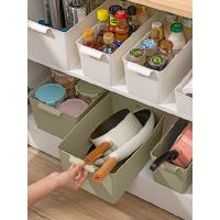 桌面收纳盒厨房橱柜置物架抽屉式收纳筐家用客厅零食整理储物盒