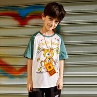 【任选专区3件89元】小虎宝儿儿童上衣薄款宽松男童短袖t恤2021纯棉中大童潮牌