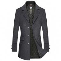 中长款风衣男士韩版修身外套冬季青年帅气呢子加厚加棉毛呢大衣潮