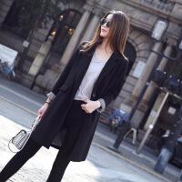 女款小西装外套中长款韩版修身2018新款春装女士休闲宽松黑色西服 黑色