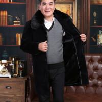 中年男士大衣中老年老人加厚冬爸爸冬装毛呢子毛领中长款风衣外套