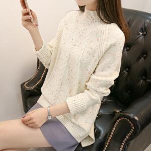 新款宽松高领套头毛衣女2018中长款韩版长袖打底针织衫加厚女装潮