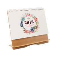 台历2018创意办公摆件桌面计划本式小清新简约木质记事本日历定制
