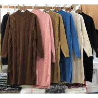 H7半高领中长款套头毛衣女冬新品开叉韩版宽松麻花连衣裙加厚0.65