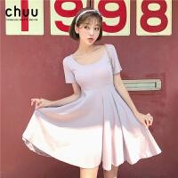 chuu小个子连衣裙女夏天裙子2019新款韩版清新甜美收腰显瘦a字裙