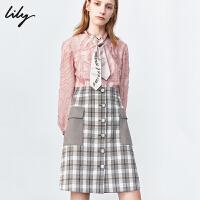 Lily2019秋冬新款女装气质飘带假两件毛须流苏格子长袖连衣裙7903