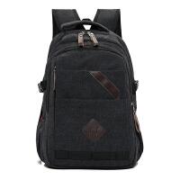 背包男双肩包休闲帆布大容量旅行包时尚潮流电脑包学生初中生书包