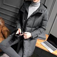 冬装新品羽绒服男中长款加厚连帽青年韩版修身潮流羽绒外套男休闲 黑色