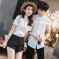 情侣2018新款韩版修身男士纯色白色衬衣男女中山小立领衬衫潮 白色 S