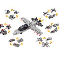 变形积木拼插组装汽车飞机模型合体益智玩具航空母舰6合1 6只一套 可拼成大飞机