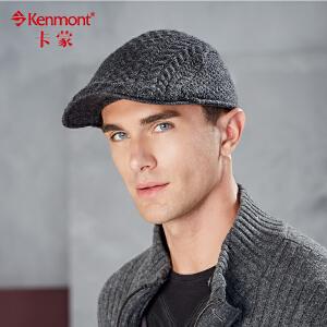 英伦帽子男前进帽羊毛线鸭舌帽复古针织贝雷帽秋冬加大头围鸭嘴帽2576
