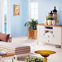 尚满 地中海系列客厅家具餐边柜 餐厅装饰柜家具 水曲柳实木框架储物柜 A9502G 餐边柜
