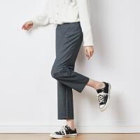 【2.5折价79.9元】唐狮冬装新款直筒西装裤女显瘦灰色九分休闲设计高腰西裤气质