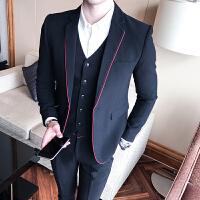 年男士休闲西装韩版修身小西服男青年潮流单西商务正装外套男 黑色 L