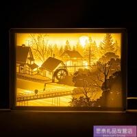春江花月夜光影纸雕灯摆件台灯创意小夜灯中国风礼品博物馆文创