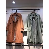 Q4春秋2018新款韩版修身女式双排扣 风衣大码中长款大衣外套潮0.8