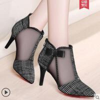 尖头高跟鞋女细跟户外新品韩版百搭黑色蝴蝶结女鞋子网纱单鞋