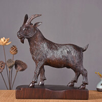 羊�[件木雕木雕羊�[件�t木生肖山羊�k公室客�d�|雕刻工��Y品